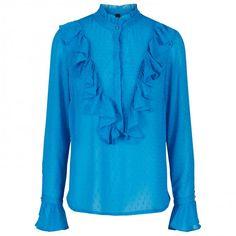 Meditta ls Top, Mediterranian Blue fra Y. Blouse, Long Sleeve, Sleeves, Mens Tops, T Shirt, Women, Fashion, Supreme T Shirt, Moda