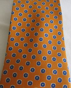 "Ermenegildo Zegna Mens Silk Luxury Neck Tie Navy Circle Dots on Orange 56"" Italy #ErmenegildoZegna #NeckTie"