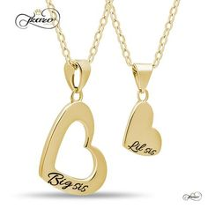 Sister Heart Necklace Set for Big Sis Lil Sis, 925 Silver, Gold Plated Necklaces - Poppy Co-op Mother Daughter Necklace, Sister Necklace, Sister Jewelry, Necklace Set, Double Heart Necklace, Heart Necklaces, Friend Necklaces, Gold Necklaces, Gold Plated Necklace