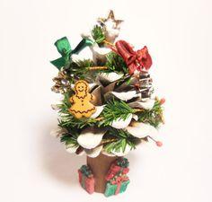 Miniature Pine Cone Christmas Tree Fairy by FairyGardenMiniature