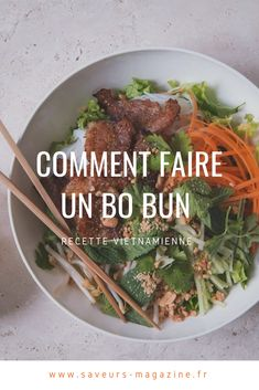 Bo bun: an easy recipe to get into Asian cuisine - CUISINE - Salad Recipes Healthy Easy Healthy Recipes, Meat Recipes, Asian Recipes, Easy Meals, Cooking Recipes, Batch Cooking, Fun Cooking, Healthy Cooking, Cooking Bowl