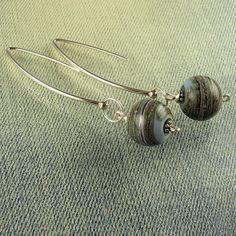 Beadbijoux: Sterling Silver Long Dangle Lampwork Glass Bead Earrings in Stonewashed Denim Blue