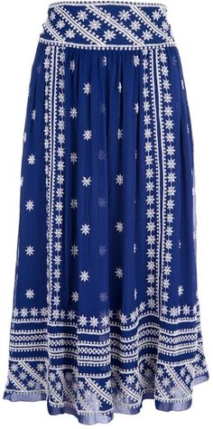 Isabel Marant Blue Embroidered Maxi Skirt