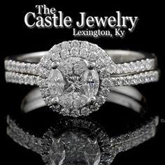 Diamond Engagement Ring With Diamond Halo & Wedding Band Bridal Set 1ctw 18k WG