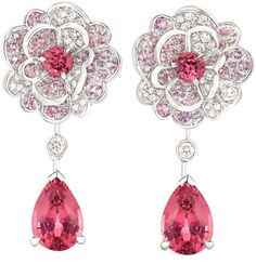 Camélia Origami earrings from the Chanel Jardin de Camélias collection. White gold set with diamonds, pink and purple sapphires, and pink spinels. Via Diamonds in the Library.