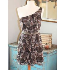 """Lulumari Anthropologie One Shoulder SZ Dress -Lulumari Anthropologie Ruffled One Shoulder Mini Dress -Size: Large -Condition: NWOT -Details: Black chiffon with a tiny floral pattern in brown, olive green and white. -Vertical chiffon ruffles down the front. **The dress is short and might be more like a tunic, depending on your height.** -Elastic at back waist.  -Side zip.  -Lined. -Fabric: 100% polyester. Hand wash. -Bust- 36-38 -Length- 32"""" from top of shoulder. Anthropologie Dresses One…"""