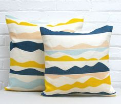 Info Specifications Scottish linen is hand screen printed by Tamasyn and her team in London. Each cushion is made up in the UK by a small British factory and stuffed using feather cushion pads. Small Cushions, Grey Cushions, Green Park, Cushion Pads, Color Trends, Aztec, Yellow, Blue, Screen Printing