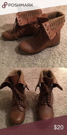 Brown combat boots Worn a couple times, super cute, cozy brown combat boots Shoes Combat & Moto Boots