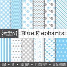 Blue Elephant Digital Paper