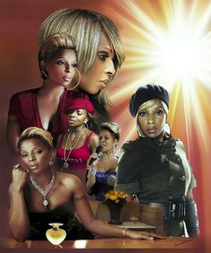 "Brand New !! The Queen of R&B Mary J Blige Original Art Giclee Prints( ""24x30"")"