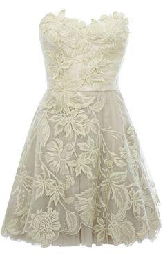 Karen Millen Romantic embroidery dress ivory $129- rehearsal dinner