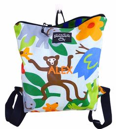 nontoxicmunchkin.com approved school supplies: Mimi the Sardine super colorful backpacks made from machine-washable organic acrylic-coated cotton!  love