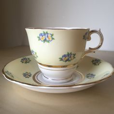 Colclough Vintage Pale Yellow Floral Teacup and Saucer, Blue Pansy Tea Cup and Saucer, English Flower China, Post WW2 1940s by CupandOwl…