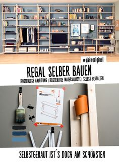 Regal Johann selber bauen – Aufbewahrung Wall shelf, sideboard or high shelf build yourself with free detailed instructions and material list. Built In Shelves, Built In Storage, Wall Shelves, Living Room Accents, Home Accents, Diy Kitchen Shelves, Diy Regal, Build A Wall, Regal Design