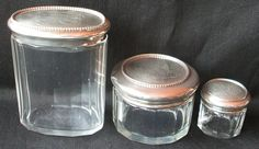 SET OF 3 ANTIQUE GORHAM DRESSER VANITY JARS BEADED STERLING SILVER LIDS MONO NR #Gorham