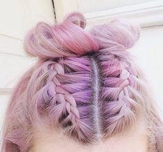 braid bar pastel Dutch space bun braid • pinterest: @sarlicmith