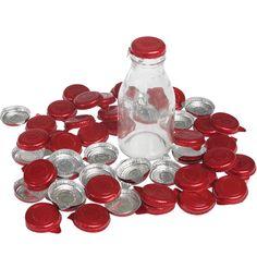 Set Of 50 Red Foil Milk Bottle Tops   DotComGiftShop