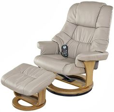 Superbe Relaxzen 60 079008 8 Motor Massage Recliner With Heat And Ottoman, Beige  And Wood
