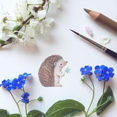 Peek-a-boo! It's Friday 13th last chance to use promo code : HAPPYCOLORING and get a ✨20% discount✨on all items in my Etsy shop. Follow the link in my bio #etsy #etsyseller #cute #drawing #illustration #hedgehog #flowers #spring #illustrator #doodle #paint #artwork #instaart #woodland #winsorandnewton
