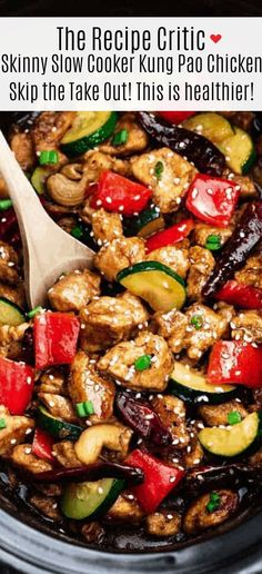 Skinny Slow Cooker Kung Pao Chicken is a delicious chicken coated in a sweet and spicy sauce with tender vegetables and crunchy cashews. Skip the takeout, this is so much healthier and better! Source by therecipecritic Slow Cooker Recipes, Crockpot Recipes, Chicken Recipes, Cooking Recipes, Healthy Recipes, Drink Recipes, Cooking Pasta, Freezer Recipes, Freezer Cooking