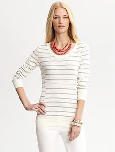 Striped button-back sweater | Banana Republic, bought this and it is sooo soft and comfy!!