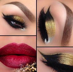 Złoto & czerń na powiekach, a na ustach głęboka czerwień. To połączenie idealne na wielkie wyjścia.