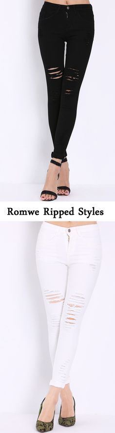 Really need a ripped denim pant for my new spring fix! Shop this white&black pant at romwe.com. You can save so much ! Click for shopping!