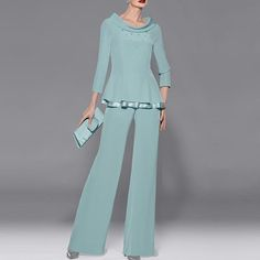 Chiffon madre degli Abiti Da Sposa Maniche Lunghe Due Pezzi Vestito di Pantaloni Da Sera Abiti Del Partito Su ordine Robe de Soiree(China (Mainland))