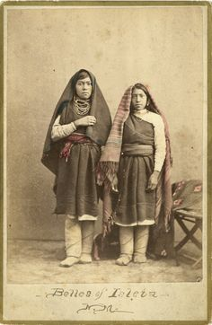 "G. Ben Wittick (1843-1903), Belles of Isleta Pueblo, New Mexico – ca. 1880Hand-Colored Albumen  Print  6.50"" x 4.25"" - Negative #015975"