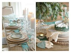 teal, white place setting, FotorCreated1