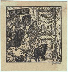 Ex libris - Josef Vachal Ex Libris, Artist, Self, Gatos, Cats, Artists