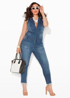 plus size denim jumpsuit blue jean jumper Curvy Plus Size, Plus Size Women, Curvy Girl Fashion, Plus Size Fashion, Denim Fashion, Look Fashion, Plus Size Denim Jumpsuit, Mode Plus, Mode Boho