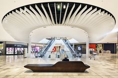 Image 31 of 56 from gallery of Eastland Town Centre / acme. Photograph by Micheal Gazzola Fritted Glass, Roof Light, Old Tv, Shopping Center, Ceiling Design, Melbourne, Facade, Centre, Ceiling Lights