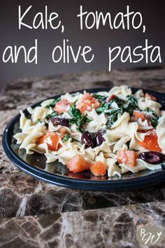 Kale, tomato and kalamata olive pasta in a lemon wine sauce