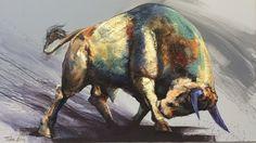 Dragan Petrovic Pavle, Bull Attack, Oil on canvas, 127x73cm, £1850