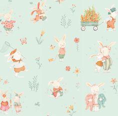 Bunny Tales - Bunny Scene Mint Green Fabric - by Studio e Fabrics - By The Half Yard - 100% Cotton - children's fabric - baby fabric