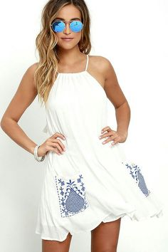 Wooded Hills Ivory Embroidered Swing Dress LULUS 48$