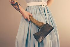 Creative Ink, Axe, Wife, Tattoo, and Photography image ideas & inspiration on Designspiration Creative Inspiration, Daily Inspiration, Design Inspiration, Bioshock, Aesthetic Girl, Yandere, Midi Skirt, Studio, Outfits