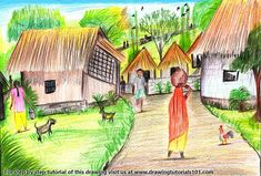 Why You Must Experience How To Draw Village Scenery Step By Art Drawings For Kids, Drawing For Kids, Easy Drawings, Learn Drawing, Oil Pastel Paintings, Indian Paintings, Easy Paintings, Village Scene Drawing, Art Village