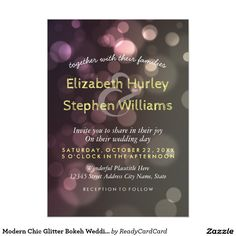 Modern Chic Glitter Bokeh Wedding Bridal Shower Card