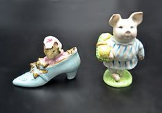Royal Albert And Beswick Beatrix Potter Figurines, The Old Woman Who Lived In A Shoe, Early Little Pig Robinson, Gold Oval Beswick Beatrix Potter Figurines, Little Pigs, Royal Albert, Old Women, Gifts For Mom, Old Things, My Etsy Shop, Check, Easter