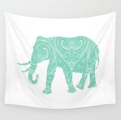 Mandala Elephant Wall Tapestry Mint Lucite by LoveThatTooMuch