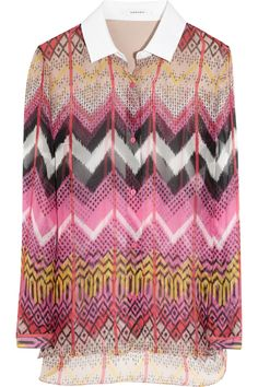 Carven   Zigzag-print silk-chiffon shirt