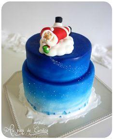 Gâteau Père Noël qui fait tomber la neige du haut de son nuage... (tuto sur le blog)
