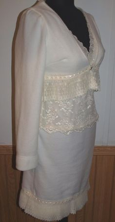 Winter White Ivory Fleece and Lace Dress with Pleated Lace Shrug from The #Gypsy Cottage on #Artfire.com
