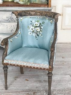 French Blue Chair  1:12 Dollhouse Scale