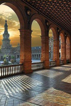 Plaza de Espana, Sevilla, Spain. This area is the UNESCO World Heritage part of ~ Ez a terület az UNESCO Világörökség része