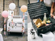 Camp & Furnace Wedding Photography – Lauren & Iain's Liverpool wedding preview - wedding caravan, BHLDN wedding balloons, wedding picnic hamper!! Photography by Spencer Photography