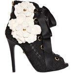 Fausto Puglisi Women 110mm Lace & Leather Lace-up Ankle Boots