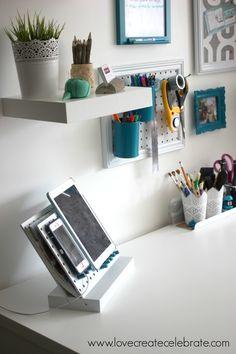 Peg Board Desk Organizer | Love Create Celebrate                                                                                                                                                     More